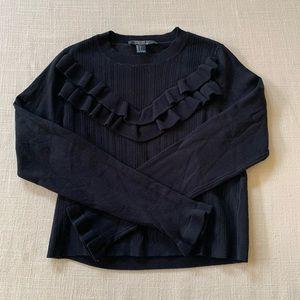 F21 Black Crew Ruffled Sweater